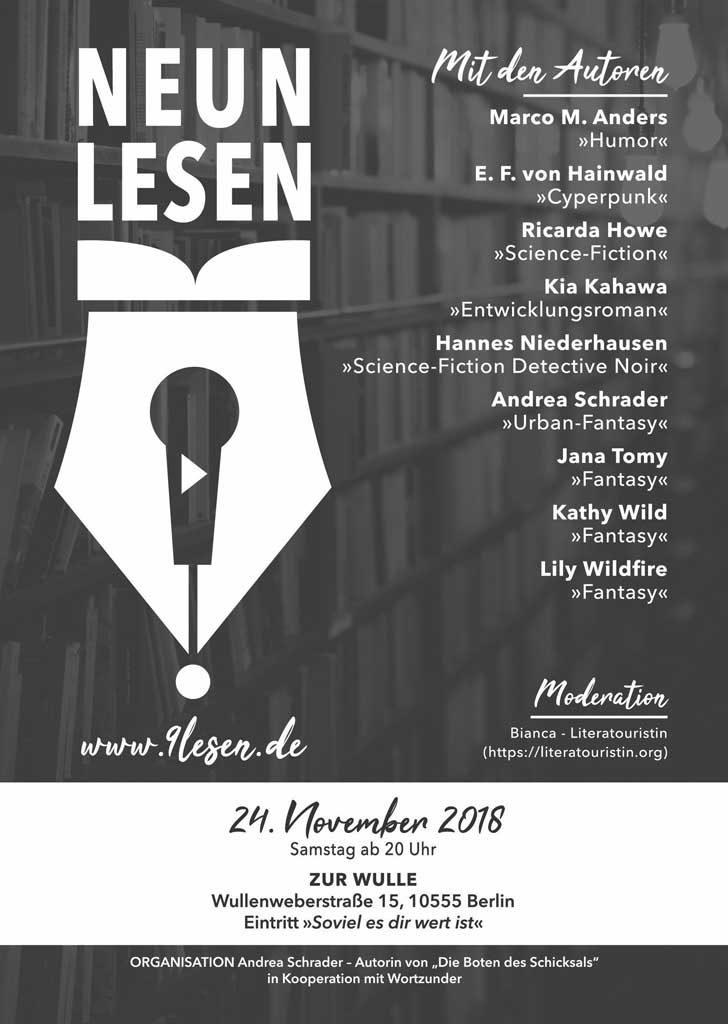 Meine zweite Lesung auf der BuchBerlin 2018. Plakat mit allen Lesenden.