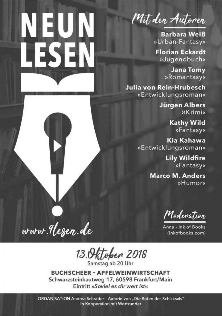 Plakat von 9lesen. Lesungsreihe. Termin in Frankfurt. Meine erste Lesung.