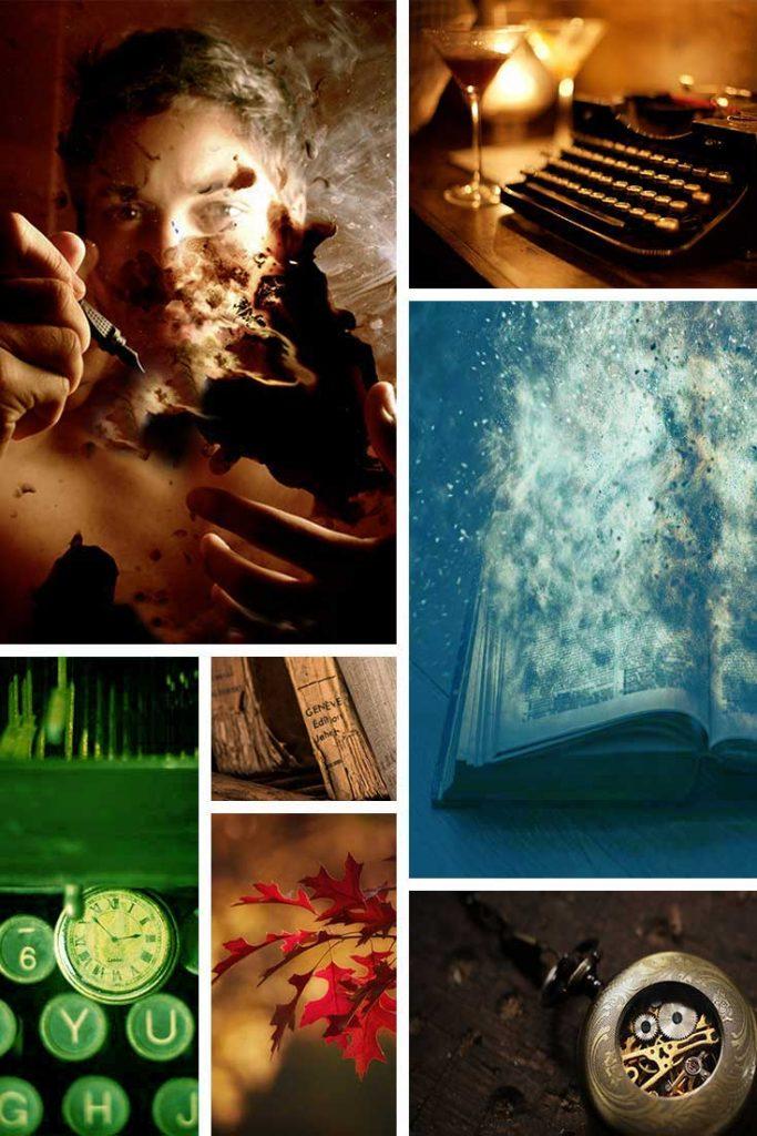 Beispiel-Moodboard mit sieben Bildern, zwei Bilder stechen raus.
